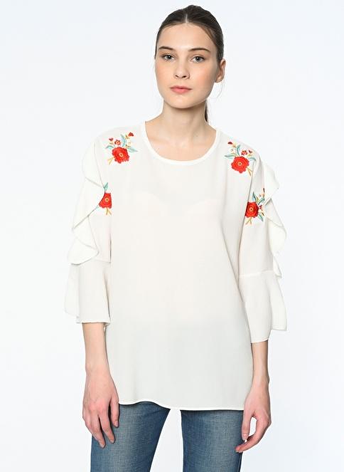 Dewberry Kolları Volanlı Çiçekli Şifon Bluz Beyaz